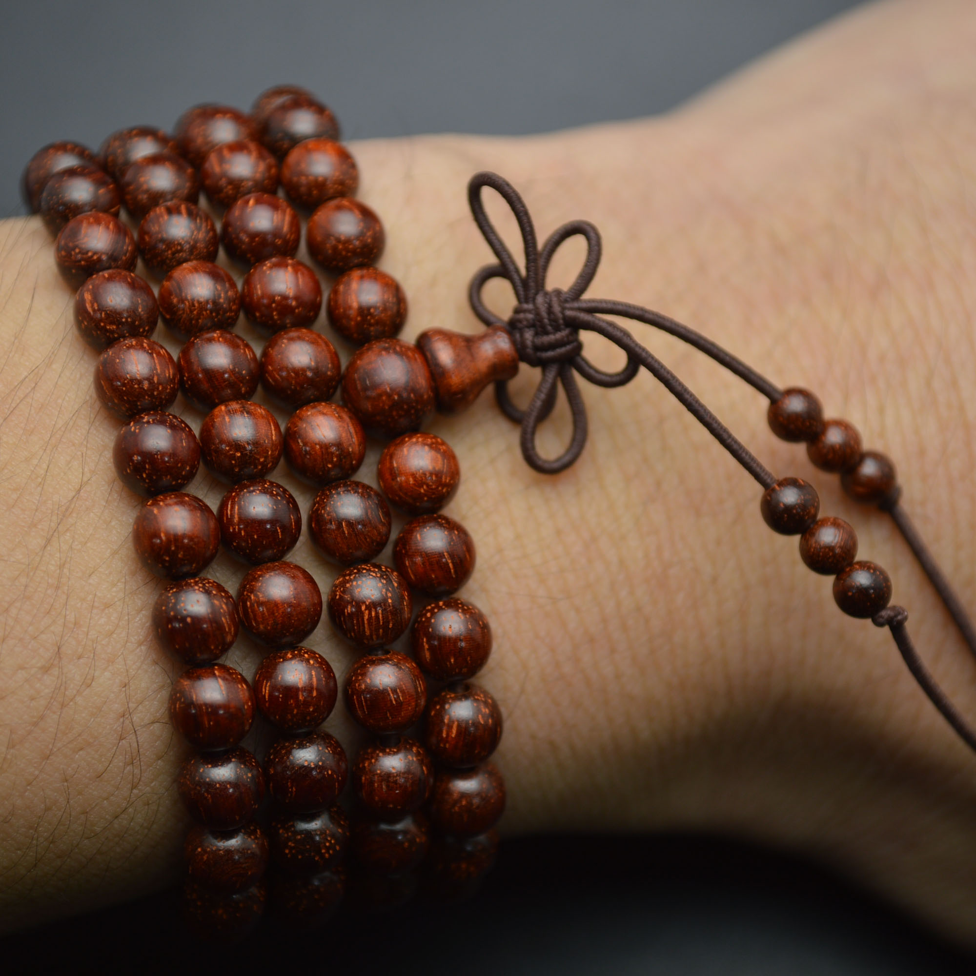 8mm Indian Pterocarpus Santalinus 108 Wood Round Beads Mala Prayer Bracelet or Necklace
