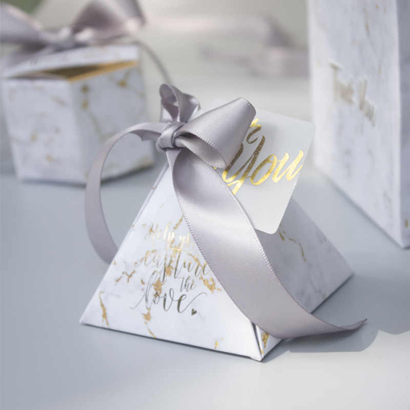 RMTPT 50pcs/lot Marble style gift box Triangular Pyramid candy box wedding gifts for guests wedding decoration