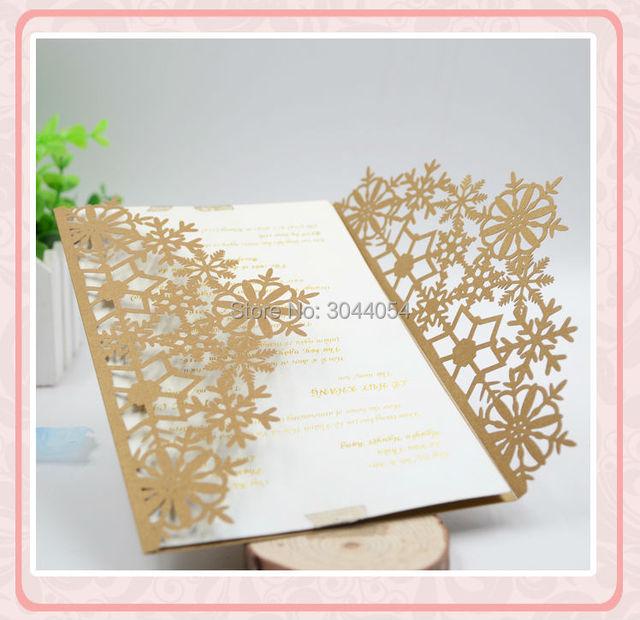 customize wedding invitation card laser cut snowflake invitation