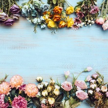 Laeacco Blue Wooden Board Blooming Flowers Portrait Photography Backgrounds Customized Photographic Backdrops For Photo Studio