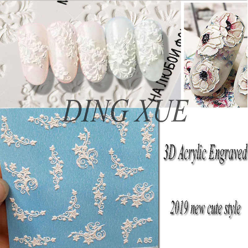 1pc 3D Acrylic Engraved flower Nail Sticker Embossed lace Flower cute cat Water Decals Empaistic Nail Water Slide Decals Z0103