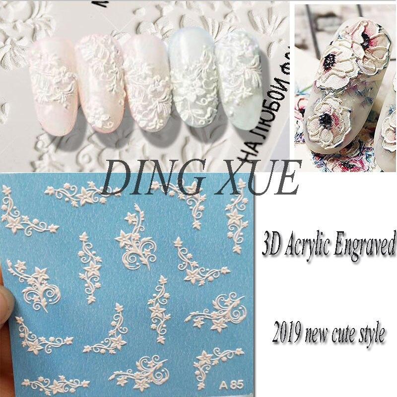 1 шт 3D акрил Выгравированный цветок ногтей Стикеры тиснением кружева цветок милый кот Водные Наклейки Empaistic ногтей водной горкой таблички ...