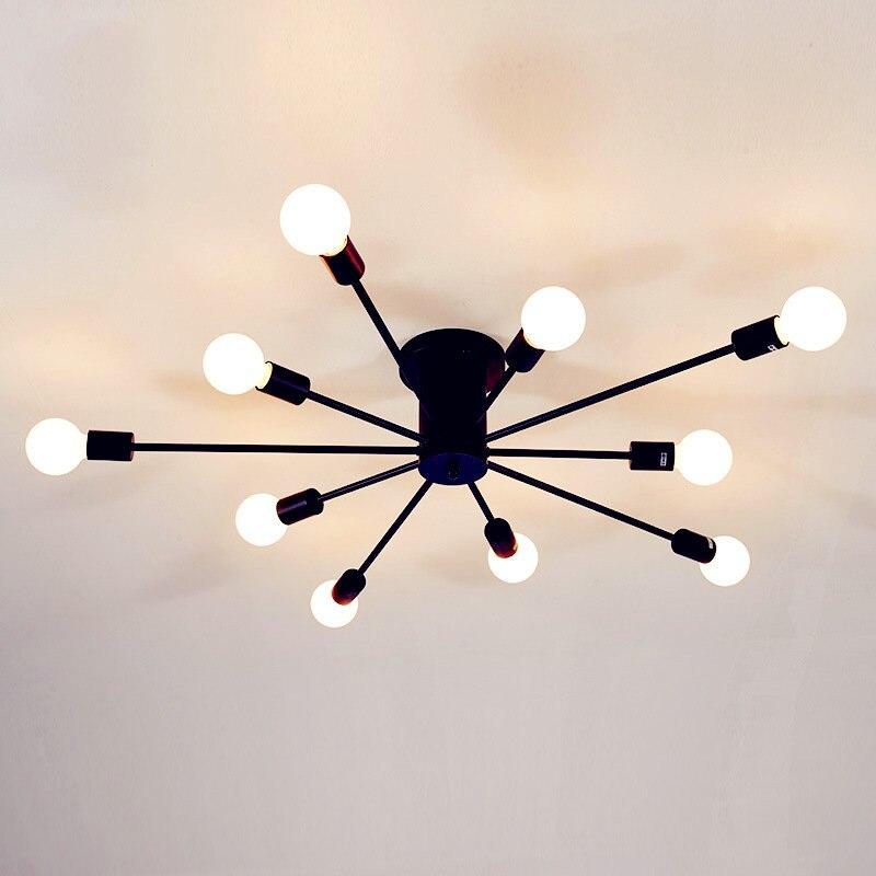 Vintage plafonniers pour éclairage De maison Luminaire tige Multiple en fer forgé plafonnier E27 ampoule salon lampara De Techo