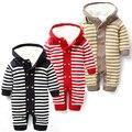 Macacão de bebê inverno além de veludo listrado macacão macacões outwear roupas nascido recém-nascido roupa de bebê menino macacão