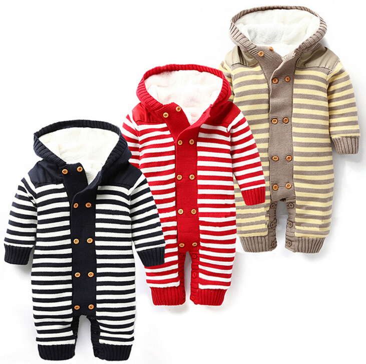 baby rompers winter boy girl plus velvet striped overalls jumpsuits outwear newborn clothes nascido roupa de bebe menino macacao 2016 bebe rompers ropa pink minnie hoodies newborn long romper baby girl clothing roupa infantil jumpsuit recem nascido