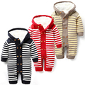 baby rompers winter boy girl plus velvet striped overalls jumpsuits outwear newborn clothes nascido roupa de bebe menino macacao