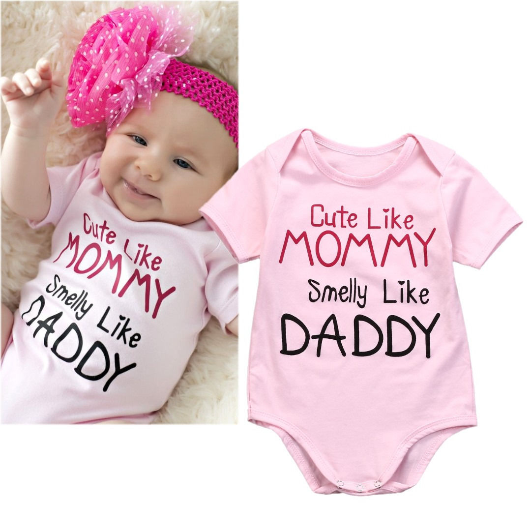 2016 Newborn Baby Clothes 0-18M Cute Bebes Body Clothing Short Sleeve Pink Bodysuit Infant Toddler Girls One Pieces