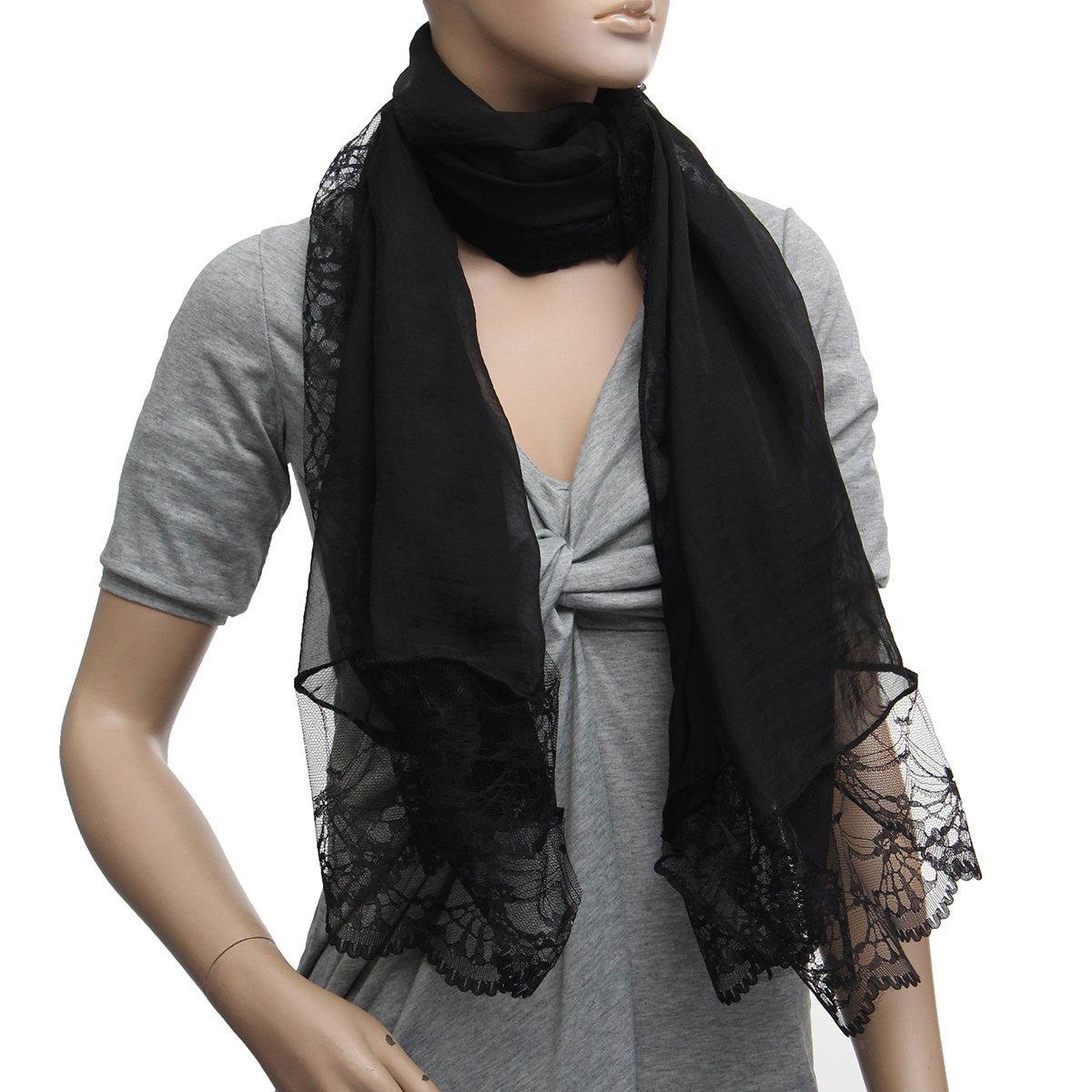 Hot Woman   Scarves   Chiffon Lace   Scarf     Wrap     Scarf   Black