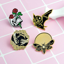 4pcs/set Bat Bee Rose Enamel Pins Skull Hand with Crystal Ball Skeleton Pin Brooch Lapel Pin Punk Backpack Jeans Accessories(China)