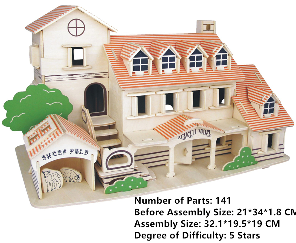 Puzzles & Geduldspiele Child Assembly DIY Education Toy 3D Wooden Model Puzzles Of European Villa B