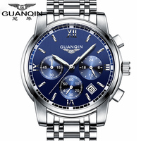 Fashion Watch Men Luxury Top Brand GUANQIN Steel Men Watch Luminous Waterproof Wristwatch Multifunction Men Clock