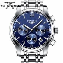 Hombres Del Reloj de moda de primeras marcas de Lujo GUANQIN Reloj multifunción Hombres Reloj de acero de hombres reloj luminoso impermeable reloj de cuarzo