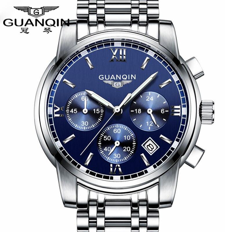 Fashion Watch men Luxury top brand GUANQIN Steel men watch luminous waterproof Wristwatch multifunction Men Clock quartz watch