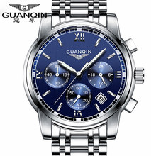4058e0c1c769e الأزياء ووتش الرجال الفاخرة العلامة التجارية الأعلى GUANQIN الصلب الرجال  ووتش مضيئة للماء ساعة اليد متعددة