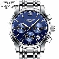 Fashion Watch Men Luxury Top Brand GUANQIN Steel Men Watch Luminous Waterproof Wristwatch Multifunction Men Clock