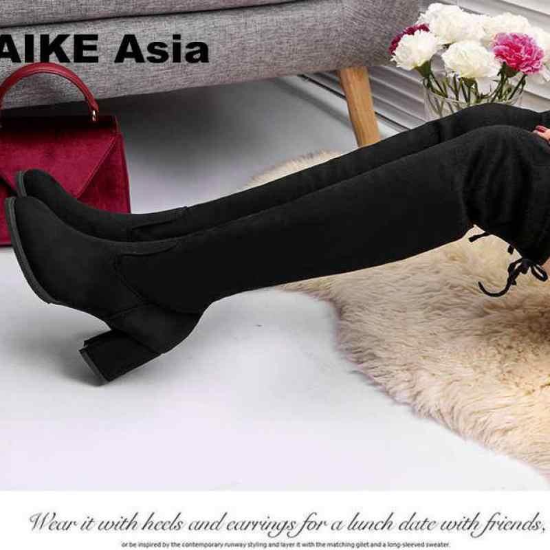 2019 botas casuales sobre la rodilla para Mujer zapatos de invierno para Mujer plataforma de punta redonda tacones altos bombas botas de nieve cálidas Mujer W391