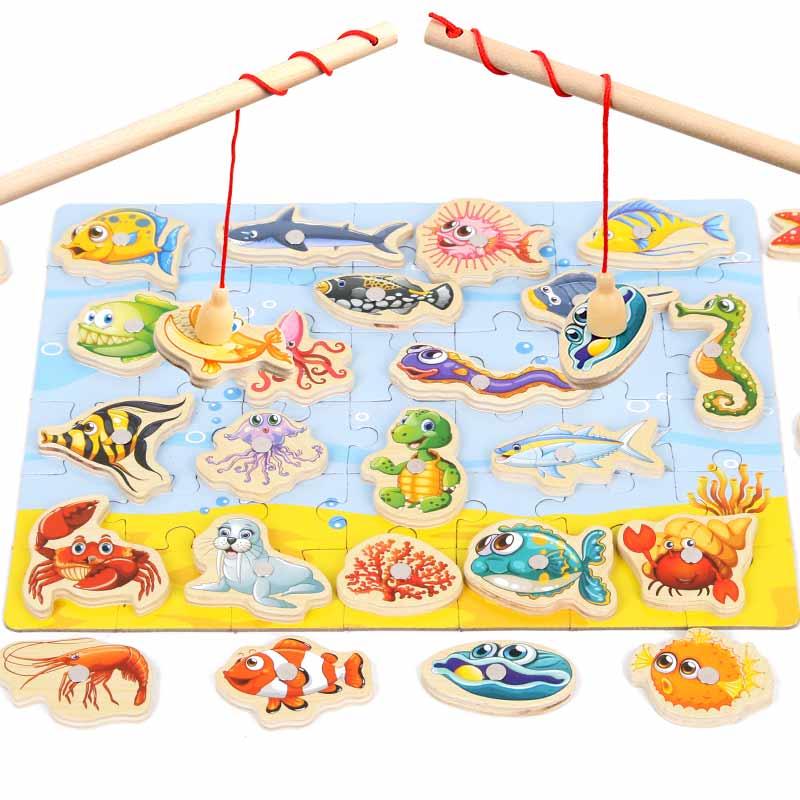 32 Pcs Baby Educatief Speelgoed Houten Magnetische Vissen Speelgoed Set Kids Kind Model Educatief Vissen Speelgoed Verjaardag/kerstpakketten