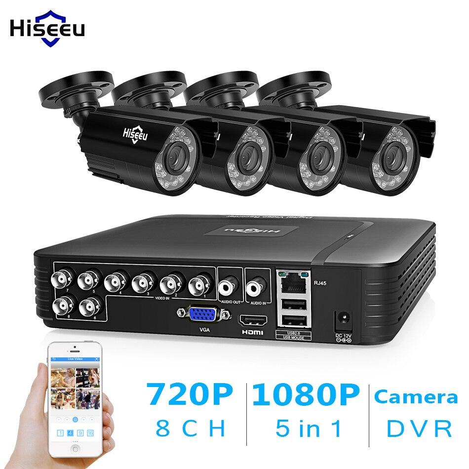 Hiseeu CCTV 8CH seguridad sistema 4 piezas 720 p 1080 p AHD impermeable calle al aire libre 2MP vídeo kit de vigilancia de inicio