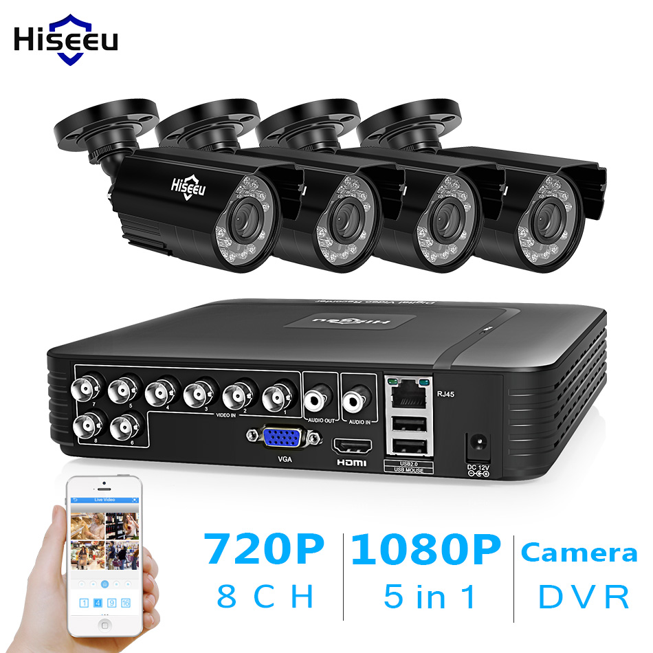 Hiseeu CCTV 8CH безопасности Камера Системы комплект 4 шт. 720 P 1080 P AHD Водонепроницаемый street Камера открытый 2MP видео комплект видеонаблюдения дома