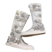 New products over the knee high tube heavy work rhinestone three dimensional decorative zipper super high canvas flat shoes