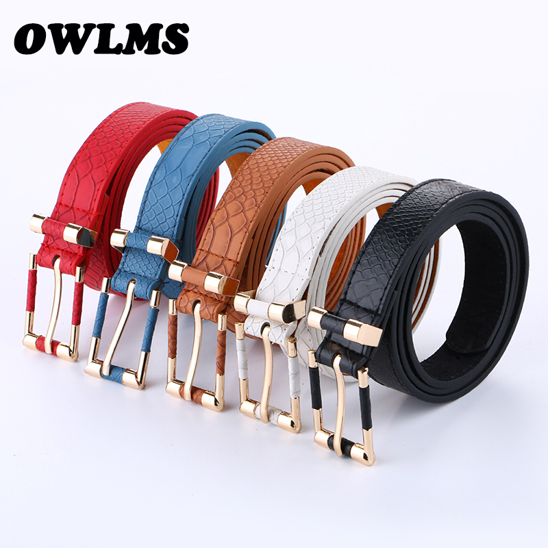 Free shipping new Belts fashion punk thin waist belt black red leather trench female strap belts jean students gold buckle women