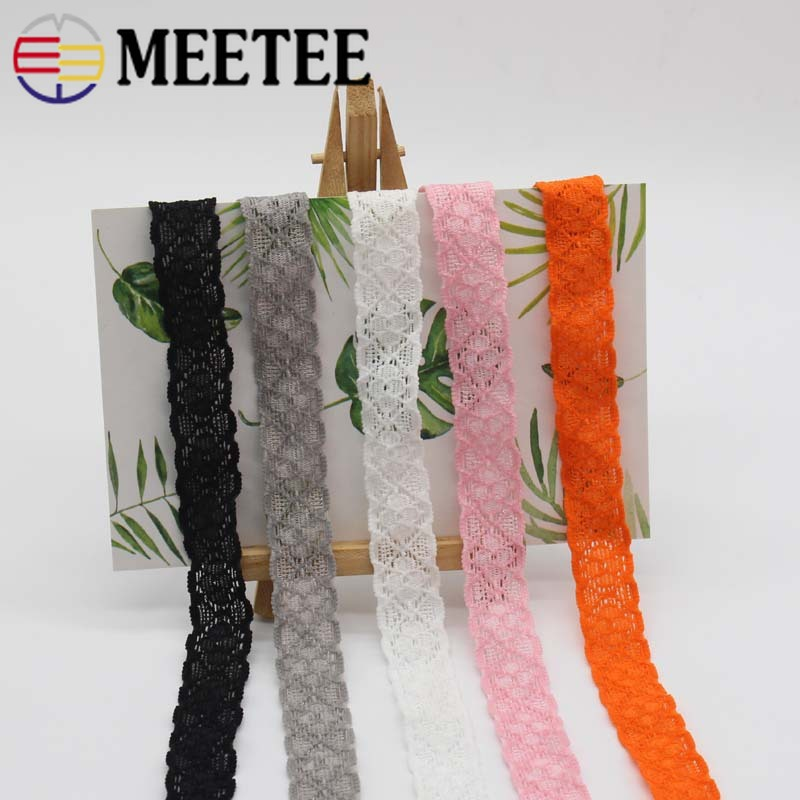 Meetee 22meters 18mm Hollow Elastic Lace Trims Ribbon Cloth Elastic Band DIY Baby Hair Band Clothing Decor Sewing Material EB007 in Elastic Bands from Home Garden