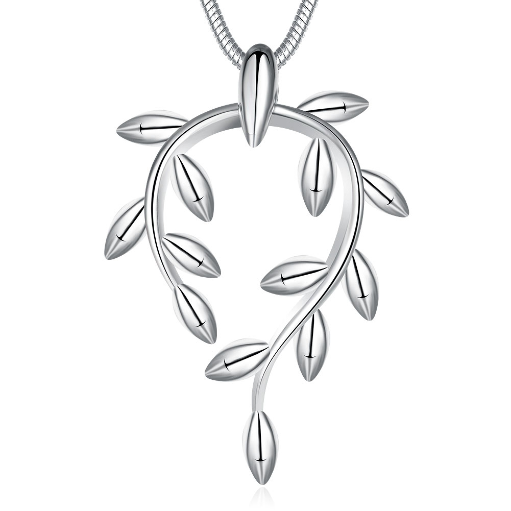 Latest Fashion Leaf Pendant Necklace Authentic 925 Sterling Silver High Class Fine Jewelry For Woman Gift