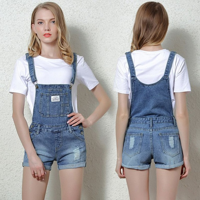 Free shipping 2017 loose summer women's denim bib pants casual plus size short pants women jean strap   jumpsuits   050113