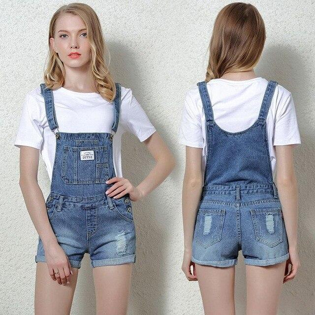 Loose Summer Women's Denim Bib Pants Casual Plus Size Short Pants Women Jean Strap Jumpsuits 050113
