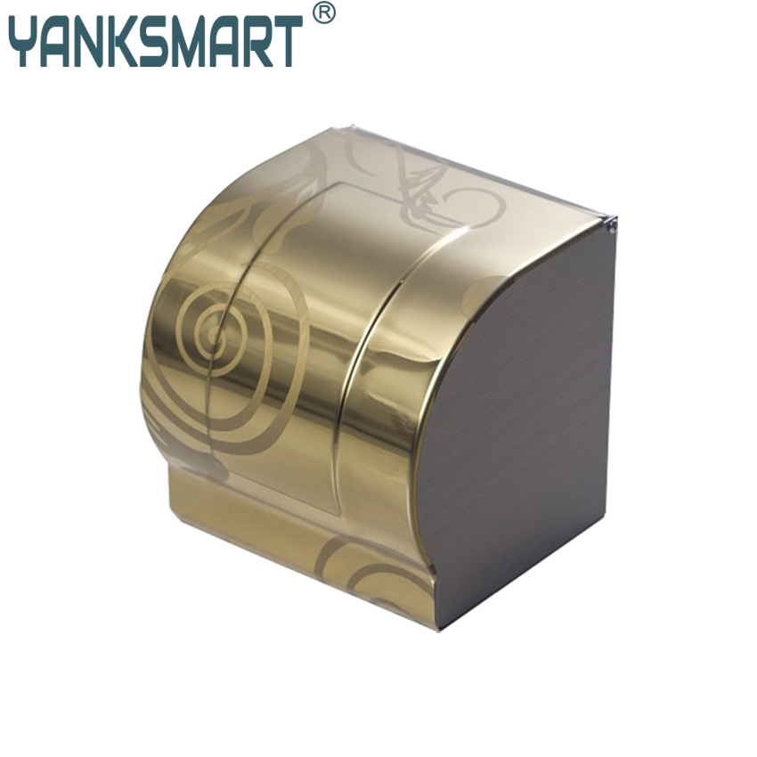 YANKSMART Toilet Paper Roll Holder Wall Mounted Toilet Paper Box Toilet Paper Box Toilet Paper Holder Bathroom Tissue Box luxury antique brass paper rack bathroom paper holder european toilet paper box toilet accessories wall mounted