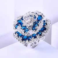 ZHE FAN Flower Cocktail Party Rings Blue Green Multi Pave AAA Cubic Zirconia Fashion Luxury Wedding