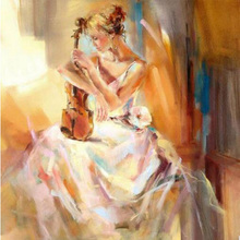 diamond embroidery The girl playing font b violin b font picture 5d cross stitch kit crystal