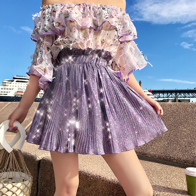 Women Summer Lurex Skirt Solid A line Flare Holiday Above Knee Mini Skirts