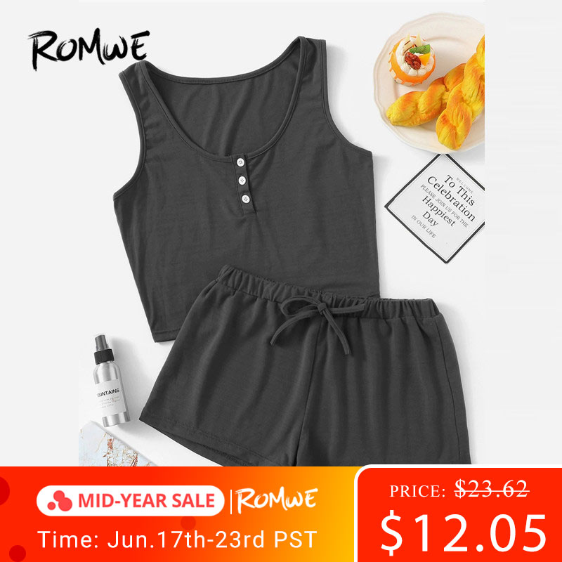 ROMWE Women   Pajama     Sets   Button Front Tank With Elastic Waist Shorts PJ   Set   Summer Nightwear Two Piece Sleepwear Suits 7 Colors