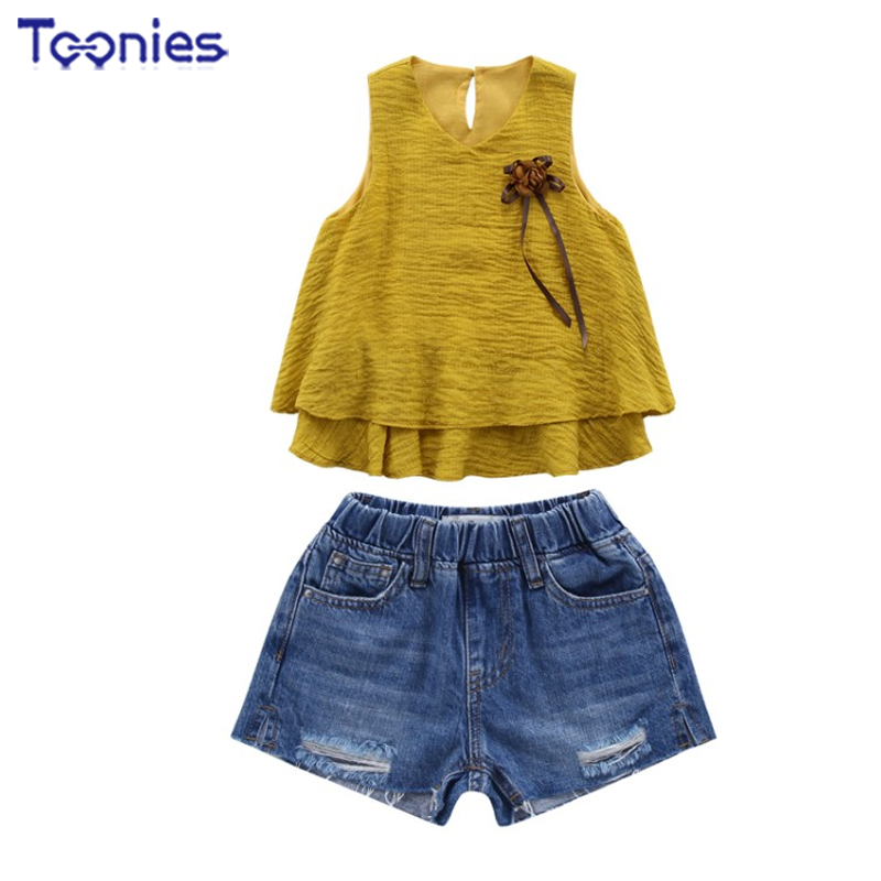 2018 New Toddler Suit Sleeveless Floral Skirt+shorts Pants Jeans Summer Baby Girls Clothes All Match Fashion Suits Casual Street
