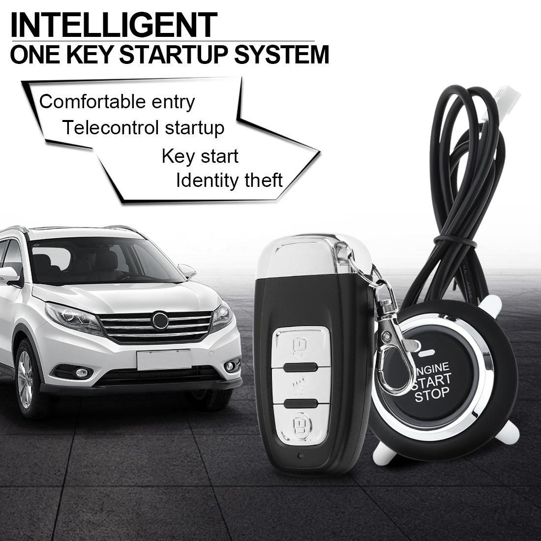 PKE Car Smart Alarm Remote Initiating System Start Stop Engine System with Auto Central Lock and Keyless Entry easyguard pke car alarm system remote engine start stop shock sensor push button start stop window rise up automatically