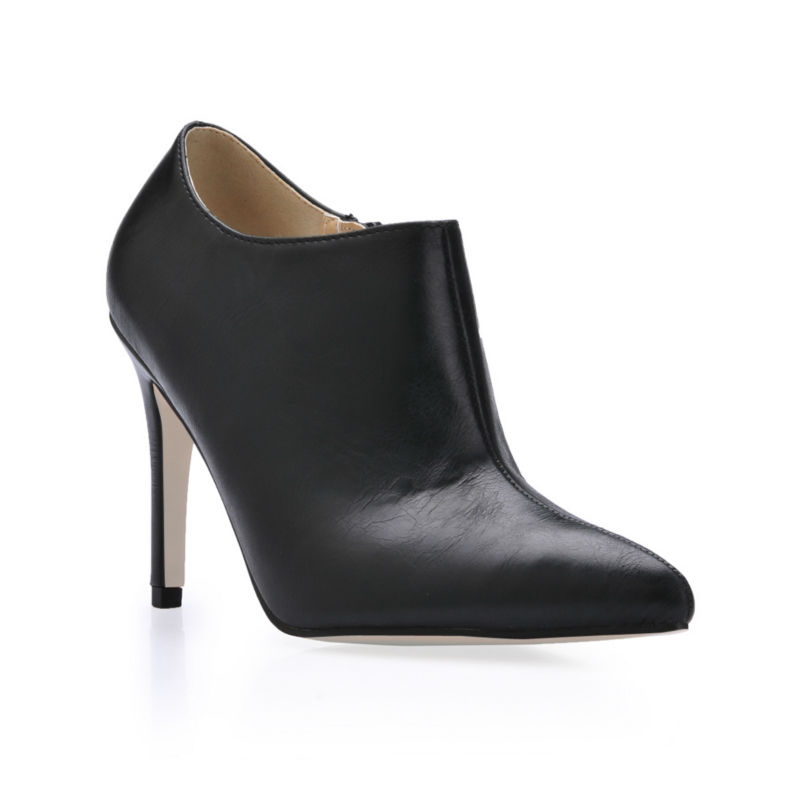 ФОТО 2016 Winter Concise Career Work Office Shoes Women  Pointed Toe Stiletto High Heels Plain Lady Ankle Boots Zapatos Mujer EFP-25