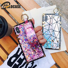 Luxury high quality fashion metal square laser wrist strap for iPhone mobile phones for iPhone X XR XS MAX 6 6 S 7 8 plus case(China)