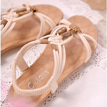 Summer Fashion Flip Flops Women's Beach Sandals String Bead Black Elastic Bands Flat Shoes Gladiator Sandalias Mujer for Women