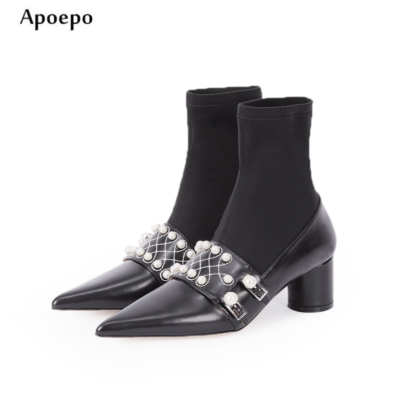 Apoepo 2018 Newest White Pearls Beaded Thick Heels Boots Sexy Pointed Toe Stretch Fabric Short Boots Woman Fashion Sock Boots