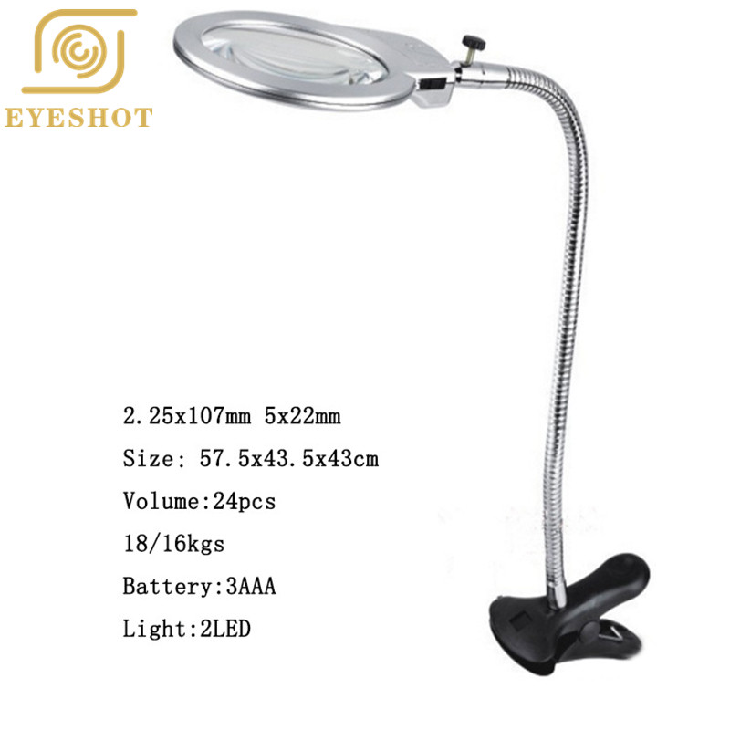 2018 High Quality 2.25X/5X LED-illuminated Clip-on Desk Metal Hose Magnifier 107mm/24mm Magnifying Glass Loupe Stock Offer