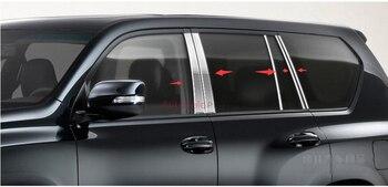 stainless steel Center Pillar Window Trim Cover 10pcs/set For Toyota Land Cruiser Prado FJ150 2014 2015 car accessories