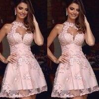 Элегантные коктейльные платья розовый Холтер кружево аппликации короткое платье на выпускной спинки Мини Пром платья для вечеринок Больши