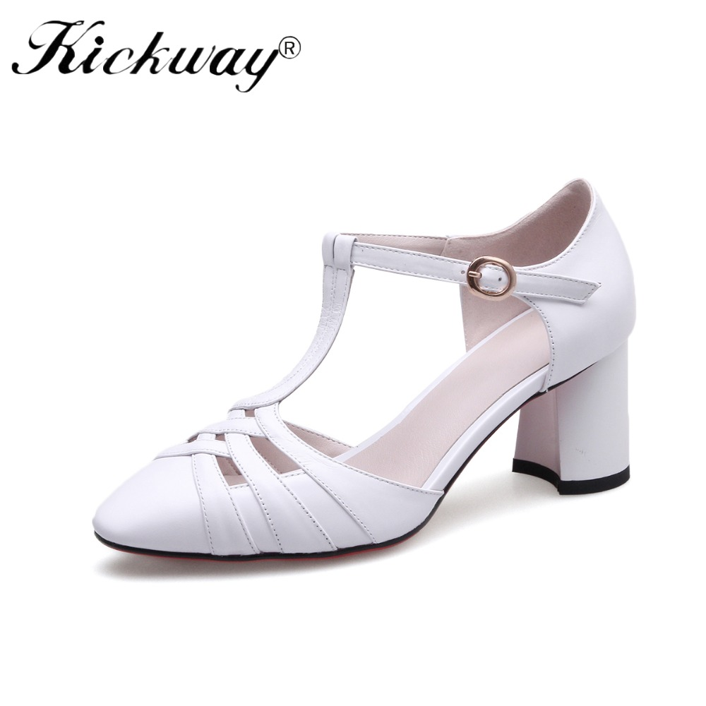 Kickway Women Pumps Ankle Strap Thick Heel Women Shoes Round Toe Mid Heels Dress Work Pumps Comfortable Ladies Shoes Size 34-39 kemekiss size 31 45 women sweet high heel shoes women ruffle ankle strap thick heels pumps party daily work shoes women footwear
