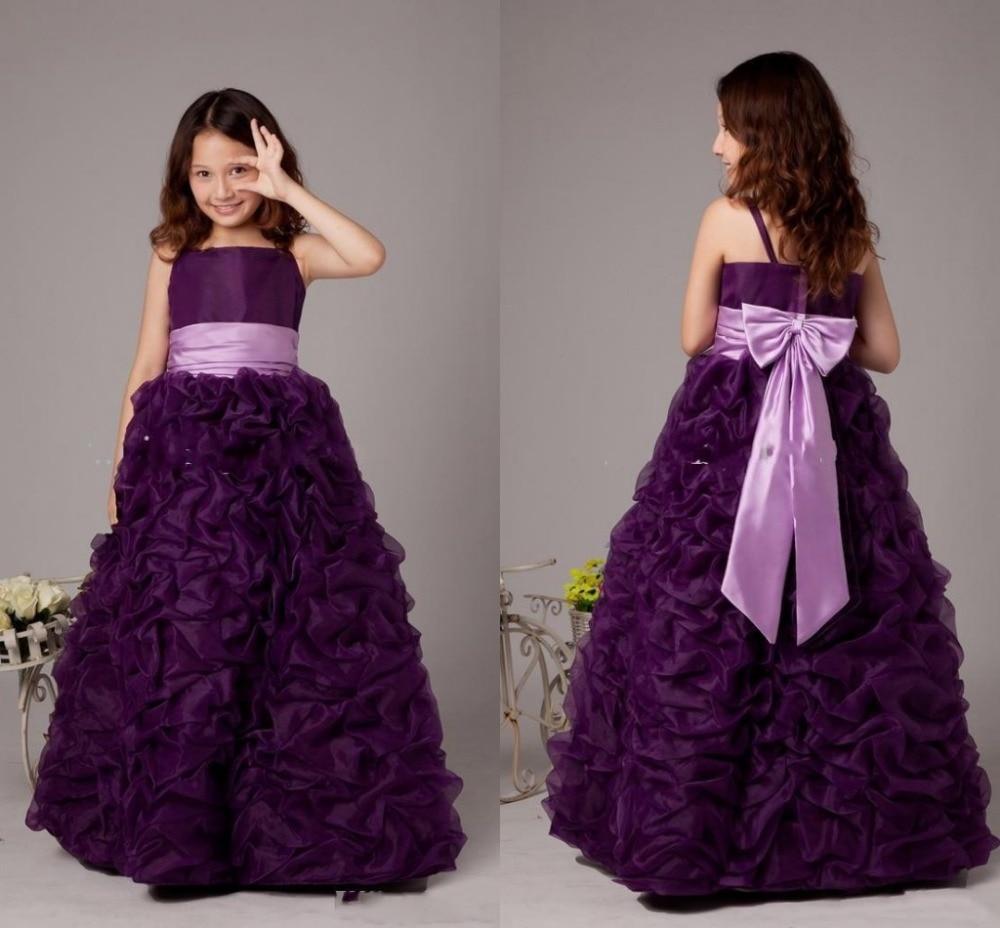 Purple Princess Pageant Gowns vestido longo Spaghetti Flower Girl ...