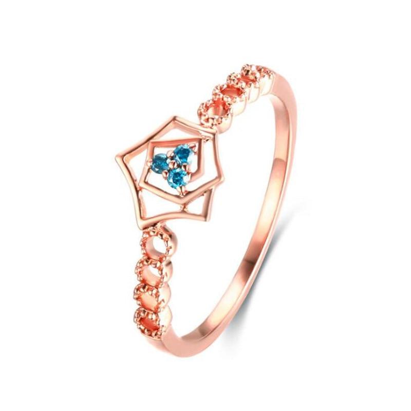 Top qualité 18 K or fleur anneau creux artisanat Rose or couleur anneau de mode bijoux pleine tailles en gros