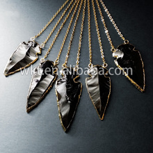 WT-N153!Double hooks black obsidian necklace ,arrow heads necklace with24K gold trim on edged