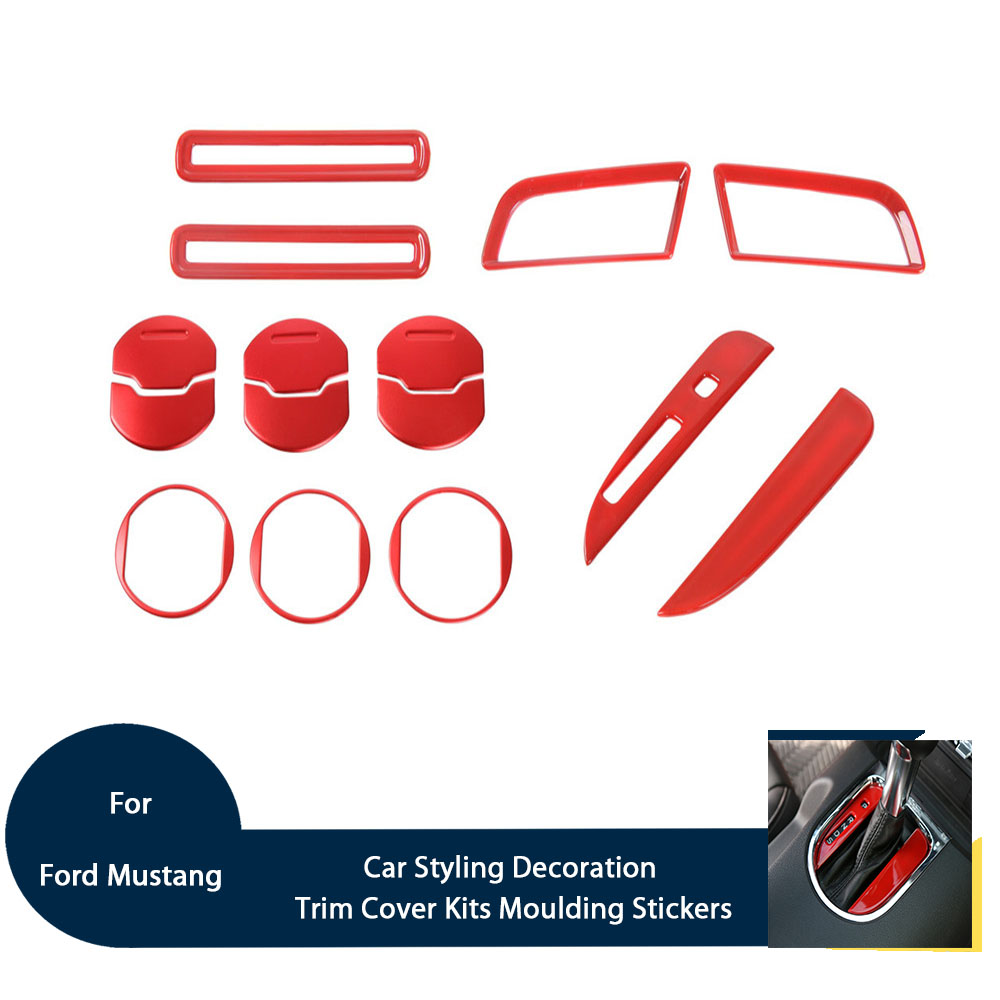 For Ford Mustang 2015 Car Styling Decoration Trim Cover Kits Interior Moulding Stickers ABS Red Sliver