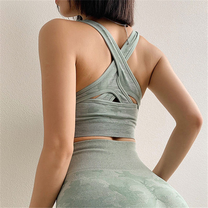 Icyzone Women Activewear Yoga Clothes Strappy Crisscross: Camo Seamless Sports Bra For Women Gym Criss Cross Workout