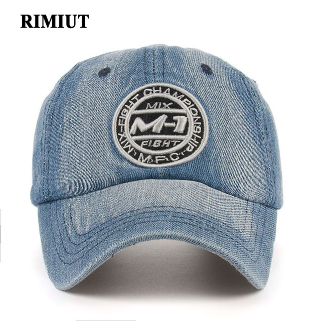 6850229e0f Rimiut Embroidery Letter Snapback Cap Demin Baseball Cap 5 Color Jean Badge  Embroidery Hat For Men Women Boy Girl Cap -in Baseball Caps from Men's ...